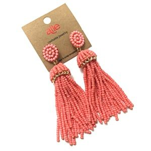 Coral Seed Bead Tassel Earrings